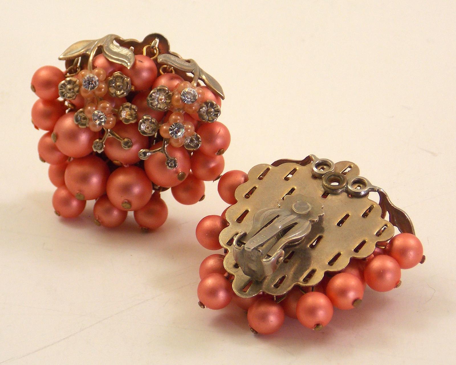 Vintage Pink Clip Back Earrings