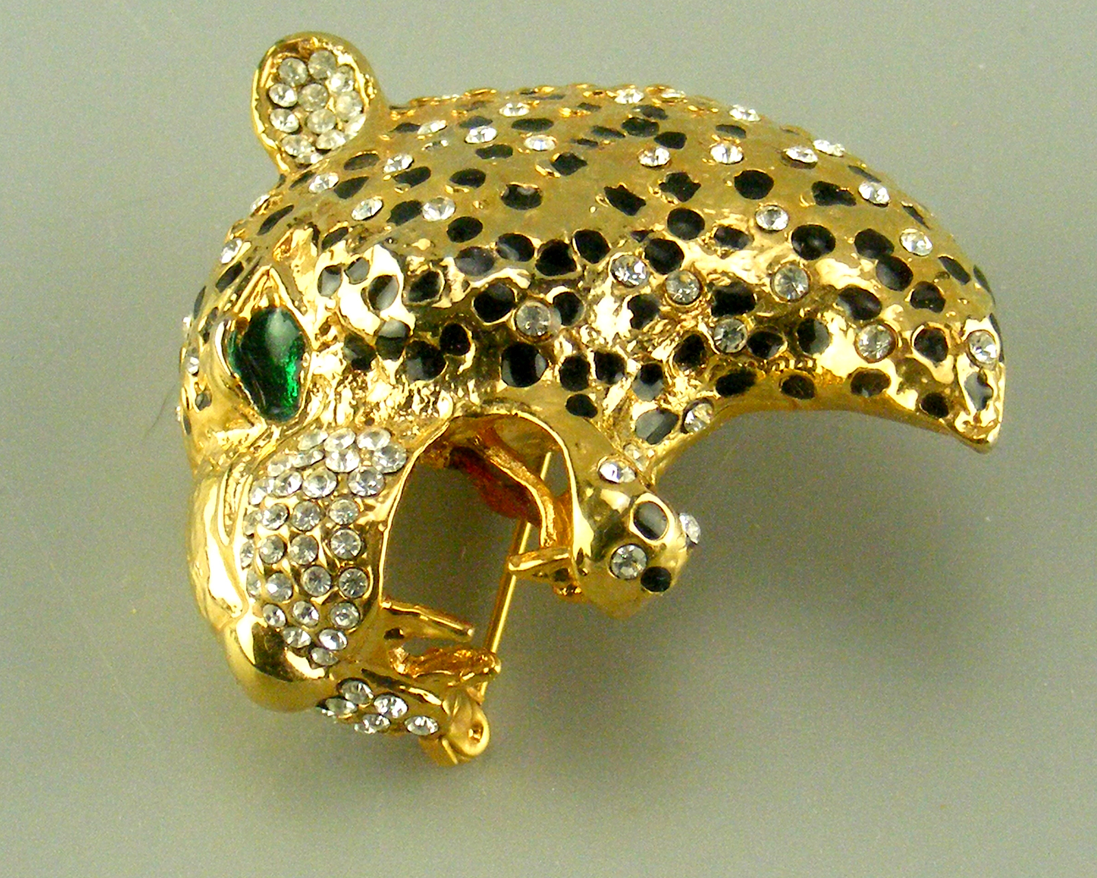 Large Leopard Head Brooch