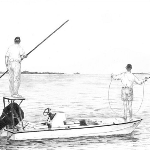 Steve Whitlock 'Flats Skiff Pencil Illustration'