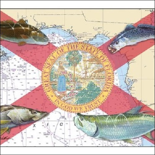 Steve Whitlock 'Florida Flag Chart - Coastal Fish'
