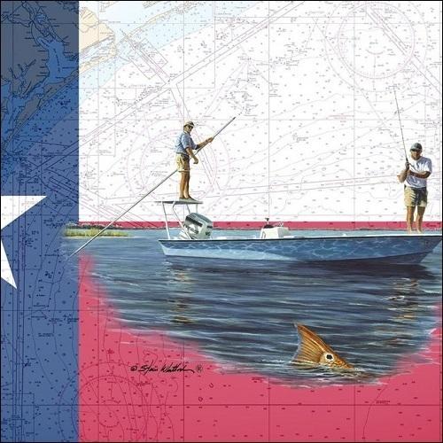 Steve Whitlock 'Texas Flag Chart - Flatsboat Tailing Redfish