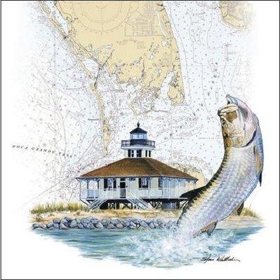 Steve Whitlock 'Boca Grande Lighthouse & Tarpon Chart'