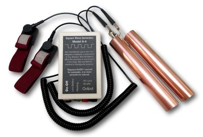 MODEL A-6 ZAPPER WITH COPPER HANDHELDS AND CONDUCTIVE WRISTBANDS