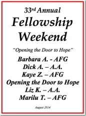 33rd Al-Anon Fellowship Weekend - 2014