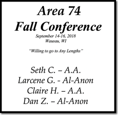 Area 74 Fall Conference - 2018