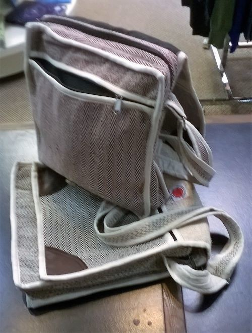 "Messenger Bag, Cotton with Adjustable Strap, 11"" x 12"", with 3 Zippers"
