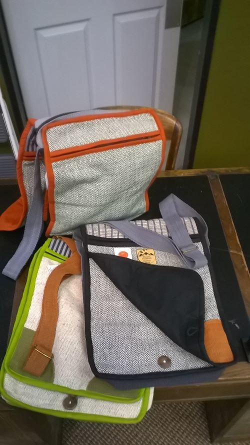 """Messenger Bags, Cotton with Adjustable Strap and 3 Zippers, 12"""" x 16"""", Choose Color"""