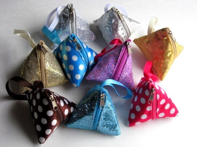 """Coin Purses with Zipper and 3"""" Strap, 3""""x3""""x3"""", 9 Colors for Choose From, Priced per 12 Pk"""