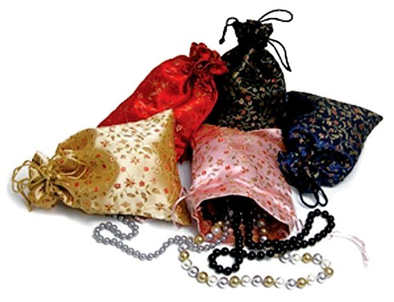 "Silk Brocade Favor Bags, 4""x5"" Floral Pattern, Asst. Colors, Priced per 6 Pk"