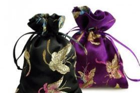 """Silk Brodade Favor Bags with Butterfly Design, 4""""x5"""", Asst Colros, Priced per 6 Pk"""