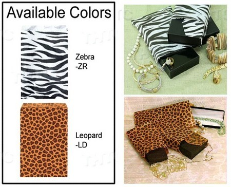 "Paper Gift Bags, 5""x7"", Leopard or Zebra Design, Priced per 100 Pk"