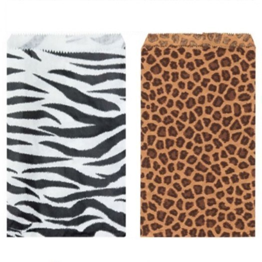 "Paper Gift Bags, 6""x9"", Leopard or Zebra Design, Priced per 100 Pk"