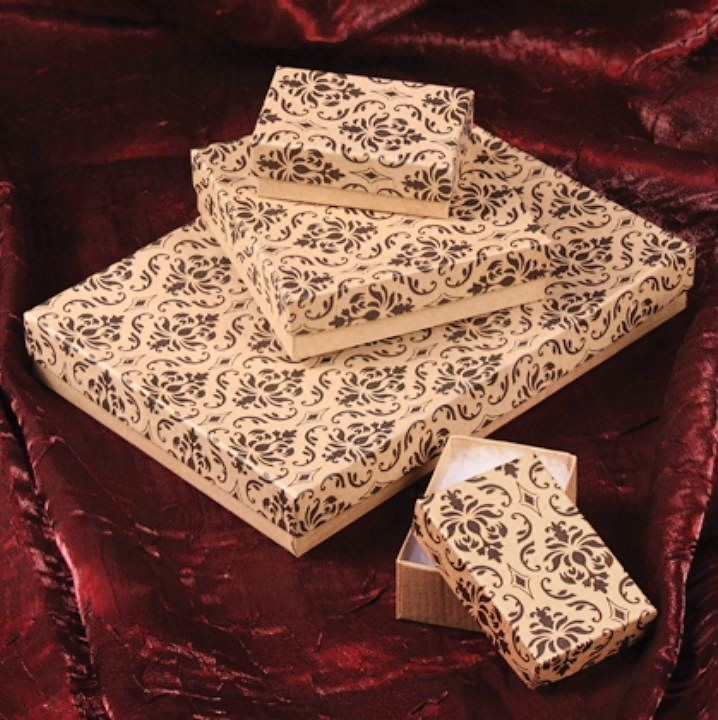 Damask Cotton Filled Boxes, 3 1/2''W x 3 1/2''D x 1''H, Priced per 100 Pk
