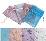 "Organza Bags, 4""x5"", with Pastel Design, 12 Pack Asst."
