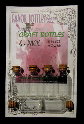 15ml Bitty Glass Bottles with Cork, 6 Bottles on a card, Sold Per Card