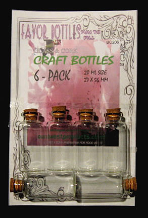 20ml Bitty Glass Bottles with Cork, 6 Bottles on a card, Sold Per Card