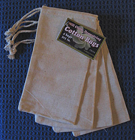 """3""""x5"""" Cotton Bags, 4 Pack, Priced Per Pack"""