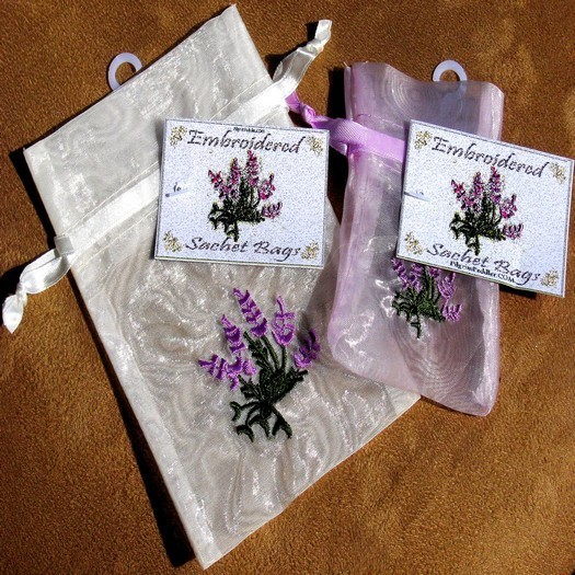 "Embroidered Organza Bags with Lavender Design, 4""x 6"", 6 Pack"