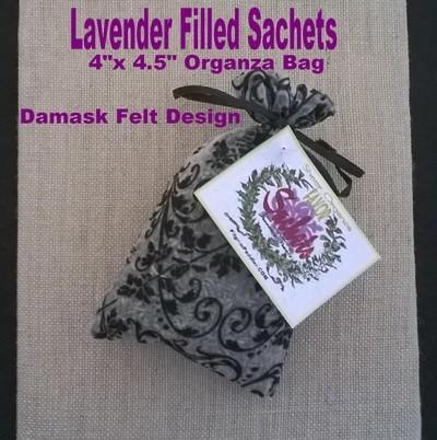 """Lavender Bud Sachets in a Damask Design Orgnaza Bag, 4""""x4 1/2"""", 6 Pk, ($1.50 Ea)"""