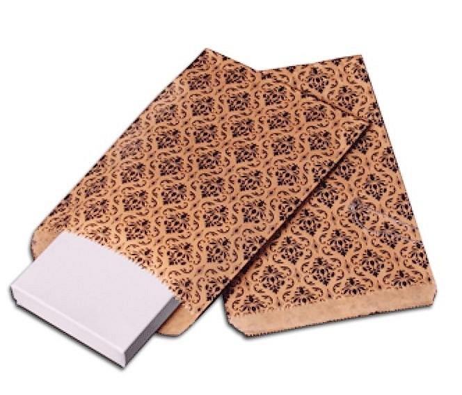 "Paper Gift Bags, 6""x9"" Damask Design, 100 pk"