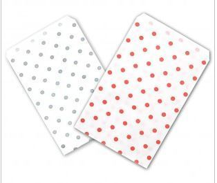 "Paper Gift Bags, 6""x9"" with Polka Dot Design, 100 Pk"