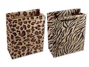 Kraft Paper Merchandise Bags, 10'' H x 8''W x 3 1/4''D, Leopard or Zebra Design, 12 Pk