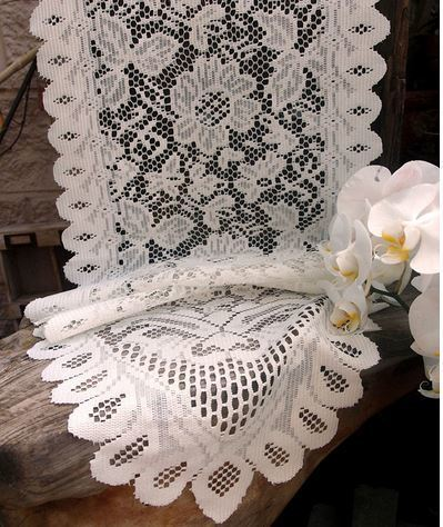 "Ivory Floral Lace Table Runner, 13""x 76"" Long, Priced Each"
