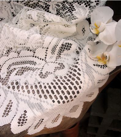 "Ivory Lace Table Runner with Floral Design, 13""x 120"", Priced Each"