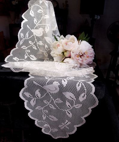 """White Lace Table Runner with Bird Design, 13""""x 96"""", Priced Each"""