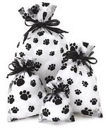 "6""x  10"" Sheer Novelty Bags with  Paw Print Design, 6 Pk"