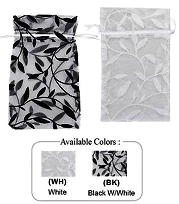 "1 3/4""x 2"" Organza Bag with Leaf Design, 12 Pk"