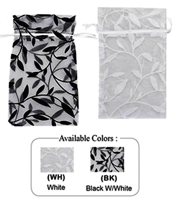 """3""""x  4"""" Organza Bag with Leaf Design, 12 Pk"""