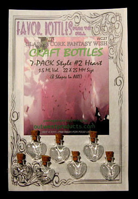 Wish Glass Bottles with Cork, Heart Shape, 7 Bottles on a card, Sold Per Card