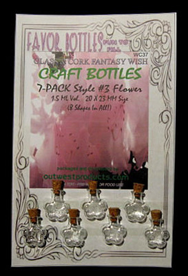 Wish Glass Bottles with Cork, Flower Shape, 7 Bottles on a card, Sold Per Card