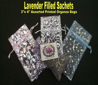 Lavender Sachets in Organza Bags with Pastel Designs, 3