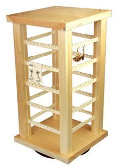 Wooden Rotating Earring Display, 7 3/8'' x 7 3/8'' x 15''H, Priced Each