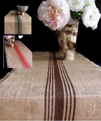 Striped Jute Table Runner with Fringed Edge, 12 1/2