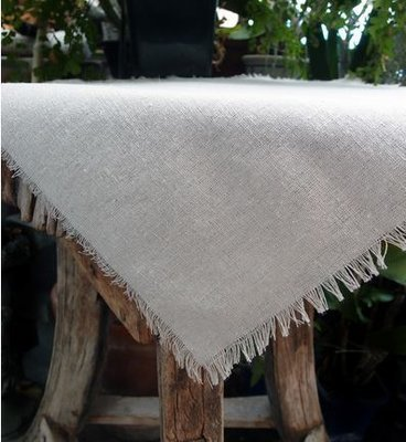 Linen Table Cover with Fringed Edge, 54
