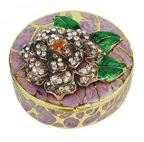 Trinket Jewelry Box, Round, 3 1/4''W x 1 1/2''H Priced Each