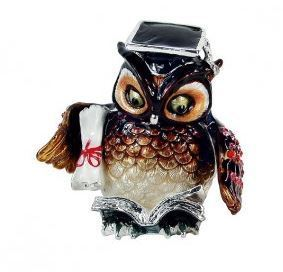 "Trinket Jewelry Box, Owl Graduation, 2 1/2""W x 2 3/8""D x 2 5/8""H"