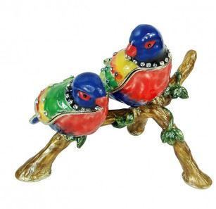 Trinket Jewelry Box, Two Parrots, 4