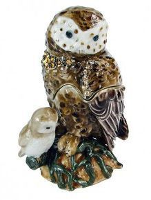 "Trinket Jewelry Box, Owl Mommy & Me 2 1/4""W x 1 1/2""D x 3 1/4""H"