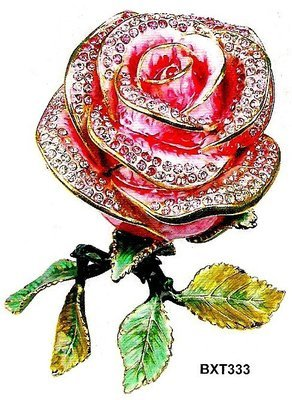 Trinket Jewelry Boxes, Rose with Leaves, 4''W x 3 1/4''D x 6''H