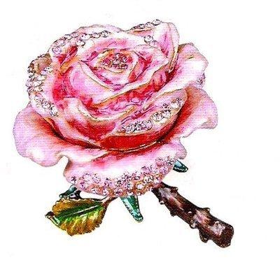 Trinket Jewelry Boxes, Rose, 2 1/2''W x 2 1/2''D x 2 3/4''H