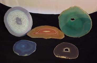 Agate Slices on Wood Base