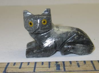 Miniature Soapstone Carving, Cat, 1 1/2