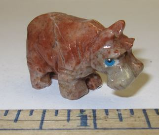 "Miniature Soapstone Carving,  Hippo, 1 1/2"" Tall, Priced Ea"
