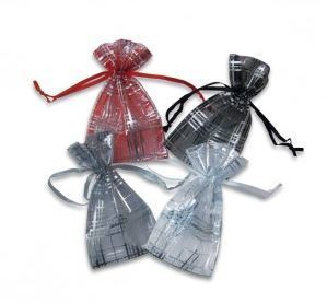 "Organza Bags 1 3/4""x2"", with Striped Design, 4 Colors to choose from, 12 Pk"