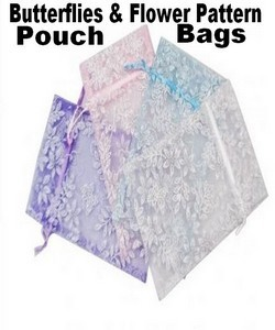 "Organza Bags, 3"" x 4"" with Butterflies & Flower Pattern Pouches With Glitters,  4 Colors, 12 Pk"
