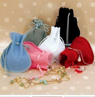 Velvet Scalloped-edge pouches with Drawstring,  2''W x 2''H, Choose of 6 Colors, 12 Pk